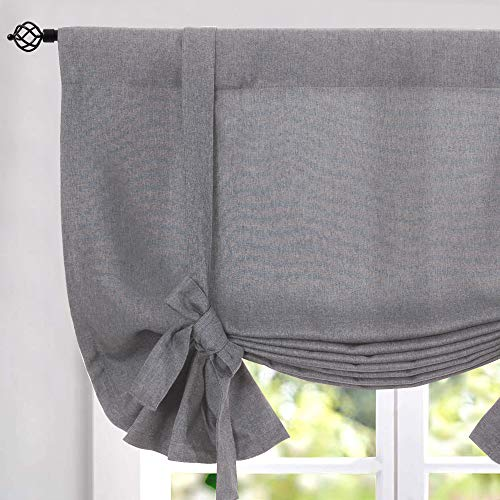 Tie Up Valances for Kitchen Windows Vintage Linen Look Room Darkening Tie up Valance Curtains Rod Pocket Adjustable Tie Up Shades for Windows 1 Panel Grey 54 Inch (Window Shade Pole)