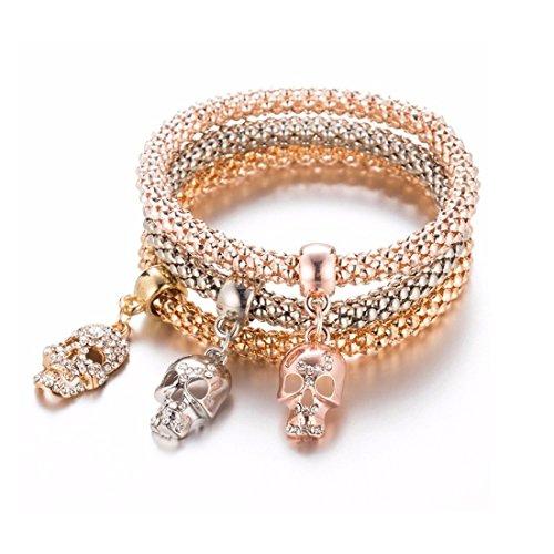 NOVADAB Trio Charm Bracelet, Bracelet for Women (Devils Own Skull Trio)