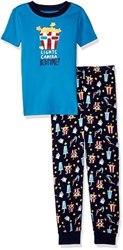 Gymboree Little Boys' 2-Piece Tight Fit Short Sleeve Pajama Set, Popcorn Print, 7