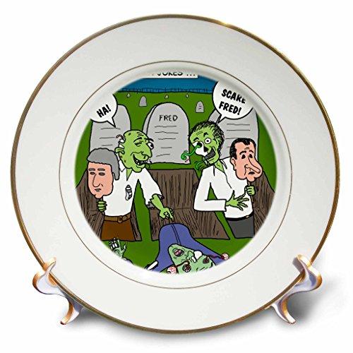 3dRose cp_3807_1 Halloween Zombie Practical Jokes Clinton & Nixon Masks Porcelain Plate, -