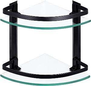 KES Bathroom Shelf Aluminum Corner Extra 8 MM-Thick Tempered Glass 2 Tier Triangle Storage Organizer Wall Mount Black, A4120B-BK