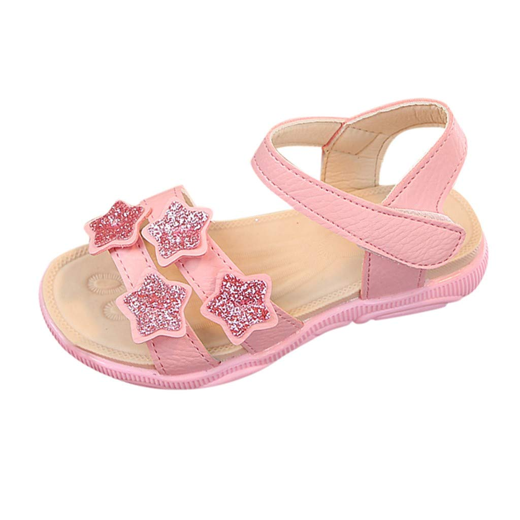 Voberry-New Infant Kids Baby Girls Star Sequins Bling Beach Princess Shoes Sandals