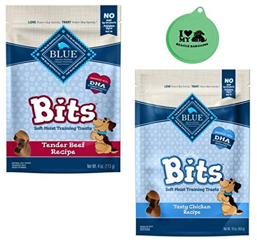 Blue Buffalo Blue Bits Natural Soft-Moist Training Treats Variety Bundle - (1) Tender Beef Recipe, (1) Tasty Chicken Recipe, 4 Oz Each - Plus Can Cover (3 Items Total) (Blue Bits Tender Beef Recipe)