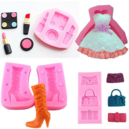 Star Trade Inc - (4Pcs/Set) Cosmetics Makeup Tools Silicone Cake Molds Dress Boots Bags Chocolate Clay Candy Wedding Fondant Cake Decorating Tools (Boot Cake Mold)