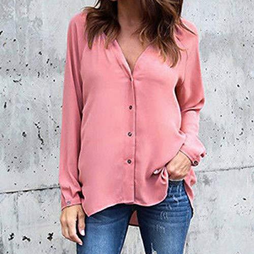 V Taille Blouse Weant Tops Shirt Chemisiers Casual Shirt Chemise Femme Grande Rose Blouses Tee Femme Solide Longue Col Blouse Femme et Couleur Manche TFqqPSwz