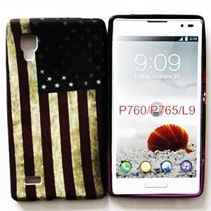 CHSH cáscara blando de TPU Silicona Cover para LG Optimus L9 P760 P765 retro US bandera América NO.10