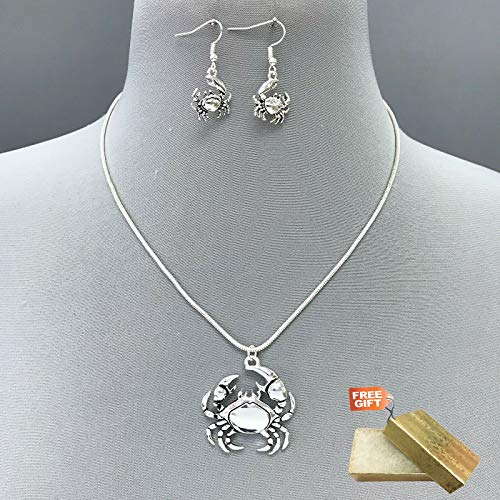 Boho Antique Silver Color Beach Sea Crab Pendant Necklace with Matching Earrings Set For Women + Gold Cotton Filled Gift Box for Free ()