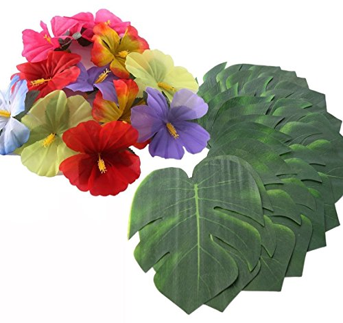 Hawaiian Party Decorations. Bundle of 12 Tropical Jungle Leaves + 24 Hibiscus Flowers for Luau, Hula, Maui, Moana Themed Birthday Parties. (36, Tropical Leaves & Hibiscus Flowers)