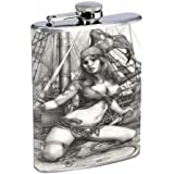 PIRATE PIN-UP GIRL SAVAGE, GREAT CLEAVAGE! Flask 8oz Stainless Steel D-458