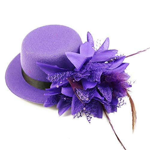 Song Flower Decor Hair Clip Feather Fascinator Burlesque Mini Top Hat for Women Lady(Purple)