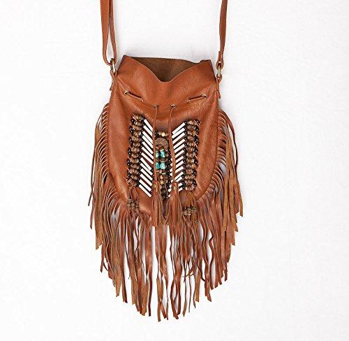 - Brown Boho Bag | Real Leather | Fringe Purse | Bohemian Bags | Hobo Tote Handbag