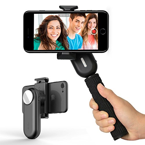 Smartphone Gimbal Stabilizer Selfie Stick – Professional Video Stabilizer for iPhone Samsung Galaxy Led Fill Light / Rear Mirror / Vertical Shooting / Portable by Wewow Fancy(Black)