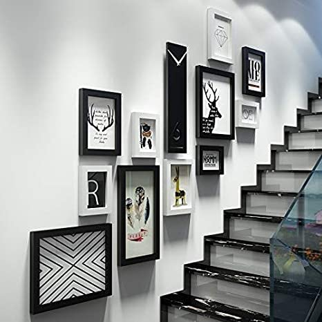 LAZ Marcos de Cuadros Creativo escaleras Photo Collage Pared de la Foto del Marco 11 Piezas con Reloj de Pared Decorativo (Color : Black and White): Amazon.es: Hogar