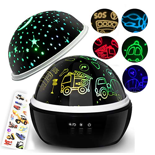 (Night Light Projector,Kids Lamp Cars Toys,Boys Car Gifts,1-8 Years Old Boys Gifts,Project Car/Plane/Truck/Bus/Fire Truck Night Light,Star Moon Light for Children Nursery Room (Black))
