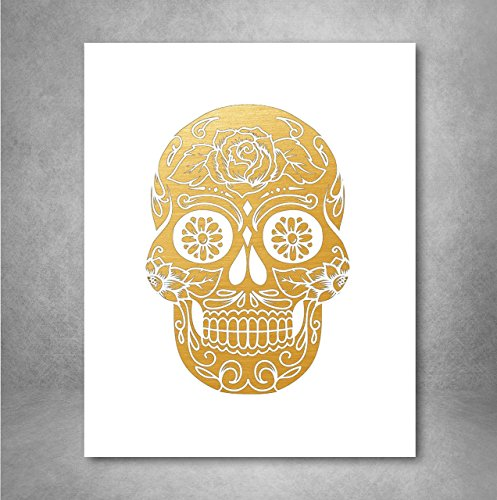 Gold Foil Art Print - Sugar Skull With Flowers Gold Foil Design 8x10 ()