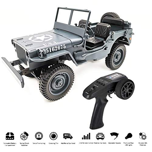 MONEIL 1:10 RC Car Q65 C606 2.4G 4WD Convertible Remote Control Light Jeep Four-Wheel Drive Off-Road Military Climbing Car Toy Kid Gift (Blue) ()