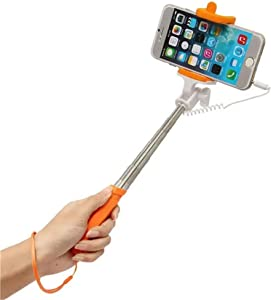 Protable Selfie Stick Holder for Travel Extendable Handheld Selfie Stick Wired Remote Shutter Monopod for iPhone 6s Cell Phone - Orange (Color : Orange, Size : 6-8cm)