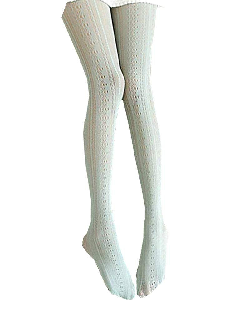 SurBepo Women Fishnet Hollow Out Chiffon Lace Stockings Tights Vertical Strips Pantyhose For Female