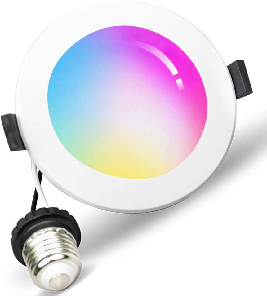 15W Ceiling Down Lighting Voice Control via Alexa Google Assistant Siri Smart Downlight 6 inch RGBCW Multicolor Color Changing Light Bulb 2700K WiFi LED Recessed Drywall Lighting 6 inch Ceiling DownLight 6500K No Hub