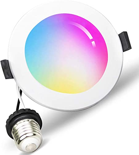 Smart Downlight 6 inch, WiFi LED Recessed Drywall Lighting, 15W Ceiling Down Lighting Voice Control via Alexa Google Assistant Siri, RGBCW Multicolor Color Changing Light Bulb 2700K – 6500K No Hub
