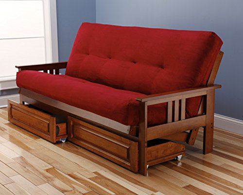 eldorado-futon-brown-finish-frame-w-coil-8-inch-mattress-full-size-sofa-bed-red-w-drawer-set