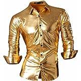 jeansian Men's Bronzing Metal Slim Long Sleeve Button Down Dress Shirts Z036