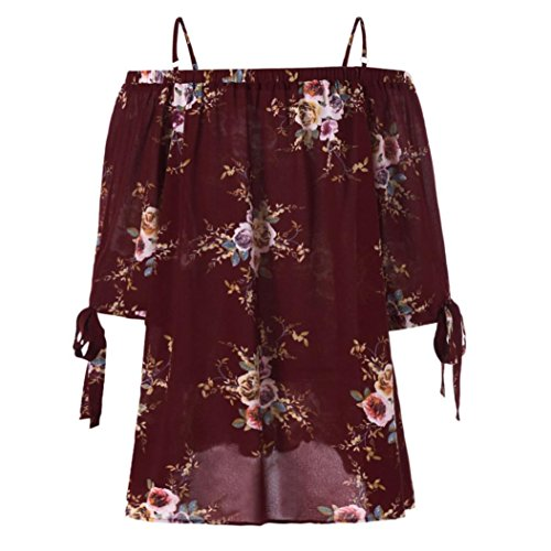 Red Appliques Heart Polyester (Cold Off The Shoulder Short Sleeve Flowy Trendy Embroidered Shirt for Women)