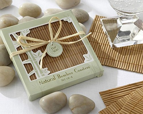 amazoncom natural bamboo eco friendly coaster favors four coasters per favor home kitchen