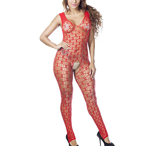 MissonChoo Women's Tank Top Hollow Crotchless Body Stocking Sexy Fishnet Hosiery Lingerie Bodysuit One Size (Red) (Body Whole Spandex)