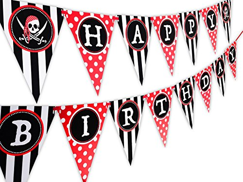 Pirate Happy Birthday Banner Pennant (Pirate Signs)