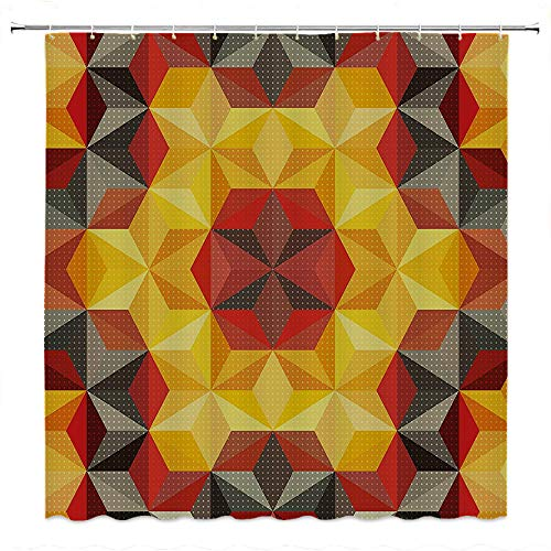 (SATVSHOP Easy-Care-Fabric-Shower-Curtain-with-Reinforced-Buttonholes-Modern-Art-Home-Psychedelic-Dign-with-Geometric-Kaleidoscope-Diagonal-Fractal-Star-Image-.W48-x-L72-inch)