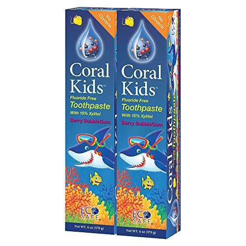 Coral Kids Natural Fluoride Free Toothpaste Berry Bubble-Gum Flavor - Natural, Safe Effective Cavity Protection - Made with Ionic Coral Minerals Free of Sodium Lauryl Sulfate - 6 Ounce (Pack of 2) (Toothpaste Free Flavor)