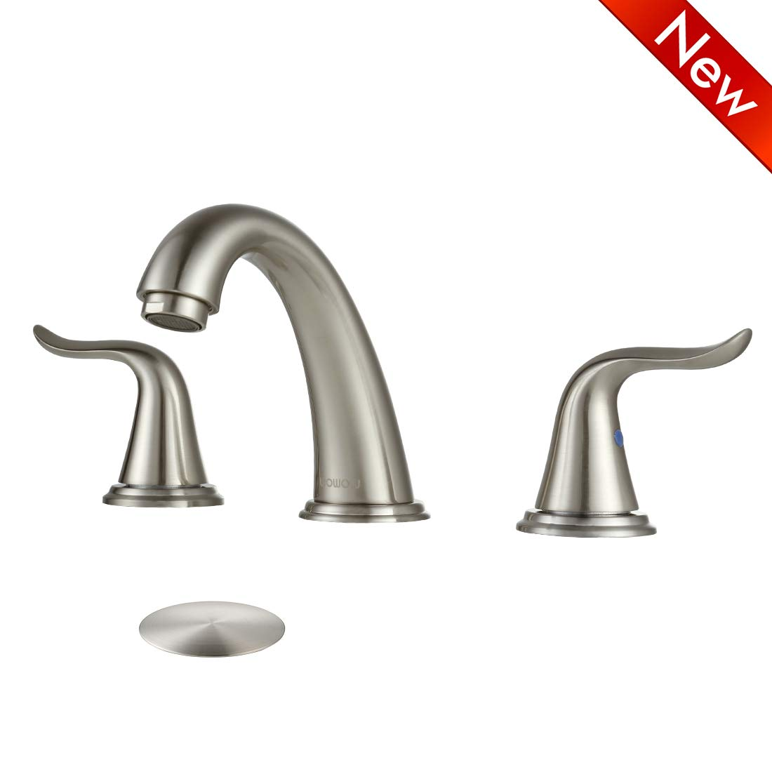 WOWOW Bathroom Faucet Brushed Nickel 2 Handle 3 Hole 8 Inch Stainless Steel High-Arc Widespread Basin Faucet Lavatory Bathroom Sink Commercial Contemporary, With Pop Up Drain
