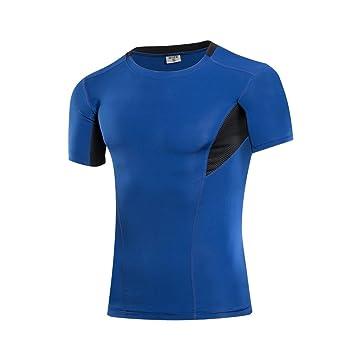 Yuerlian Camiseta de manga corta para hombre, de compresión seca y fría, camiseta de