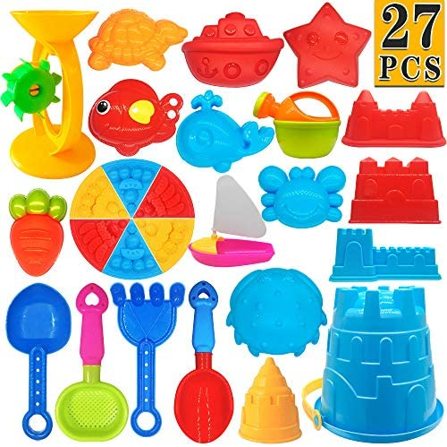 ToyerBee Beach Toys- 27 Pcs Sand Toys Set with Mesh Bag Including Sand Water Wheel, Bucket, Shovels, Sifter, Molds, Rakes and Shovels, Outdoor Beach Sand Toys for Boys, Girls, Toddlers, Kids