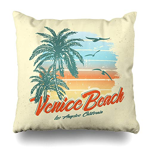 (Ahawoso Throw Pillow Cover Ocean California Tropical Sunset Surf Beach Vintage Palm Tree Summer Venice Wave Design Decorative Pillow Case 18x18 Inches Square Home Decor Pillowcase)