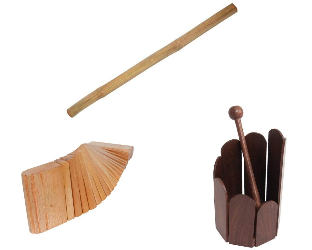 Rain Stick Package includes: Rain Stick 39'' Shaker Percussion Bamboo Sticks Instruments + Stir Drum Hand Percussion & Dobani Kokinko Hand Percussion - Red Cedar by Mid-East