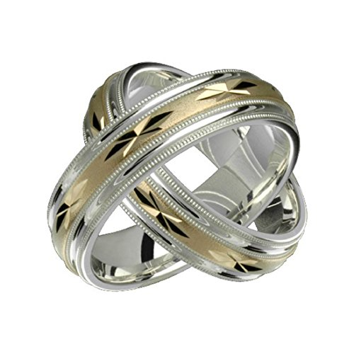Alain Raphael 2 Tone Sterling Silver and 10k Yellow Gold 8 Millimeters Wide Wedding Band Ring Set Him and Her by Alain Raphael