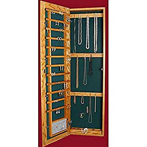 Amazon.com: Recessed Wall-Mounted Wooden Jewelry Armoire ...