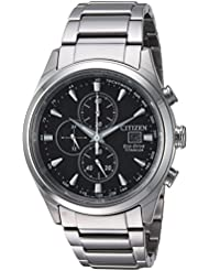 Citizen Mens Eco-Drive Quartz Titanium Casual Watch, Color:Silver-Toned (Model: CA0650-58E)