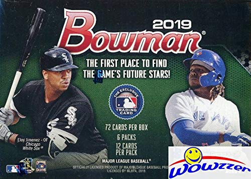 2019 Bowman MLB Baseball EXCLUSIVE Factory Sealed Retail Box with 72 Cards! Look for Rookie Cards & Autos of Wander Franco, Vladimir Guerrero Jr, Kyle Tucker, Ronny Mauricio, Joey Bart & More! WOWZZER from Wowzzer