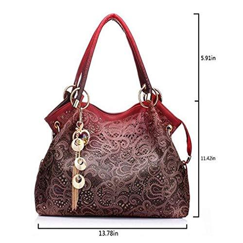 Floreale Grigio Mano Bella Bag Tracolla Stampa A Forma Da Tote Di Borsa Donna Per HxOqSawzx
