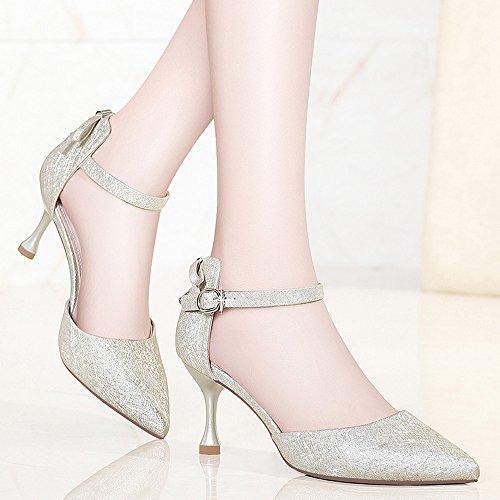 Tacones Oro Altos Zapatos Hebilla con XZGC Primavera de Fina de Punta qxHtnvST