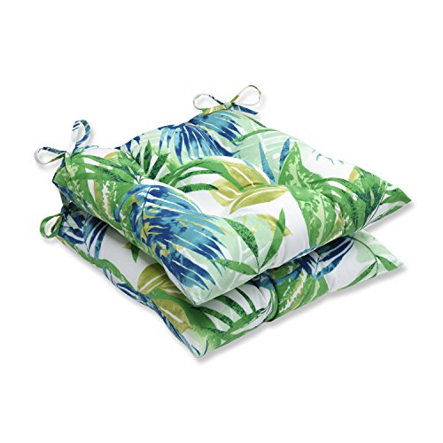 Pillow Perfect Outdoor/Indoor Soleil Wrought Iron Seat Cushion (Set of 2), Blue/Green