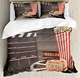Movie Theater Queen Size Duvet Cover Set by Ambesonne, Old Fashion Entertainment Objects Related to Cinema Film Reel Motion Picture, Decorative 3 Piece Bedding Set with 2 Pillow Shams, Multicolor