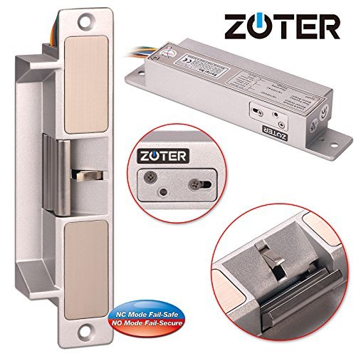 ZOTER Electric Strike, Door Lock European Type Heavy Duty NC NO Mode Fail Safe Secure Adjustable DC 12V Holding Force 1000kg