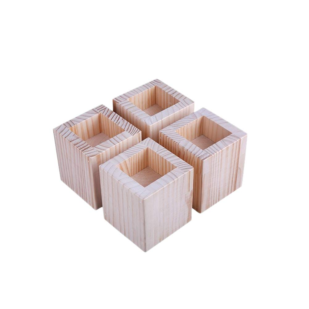 Fivtyily 4 Pcs Natural Furniture Lifter Wood Square Bed Risers Heavy Duty Homewares
