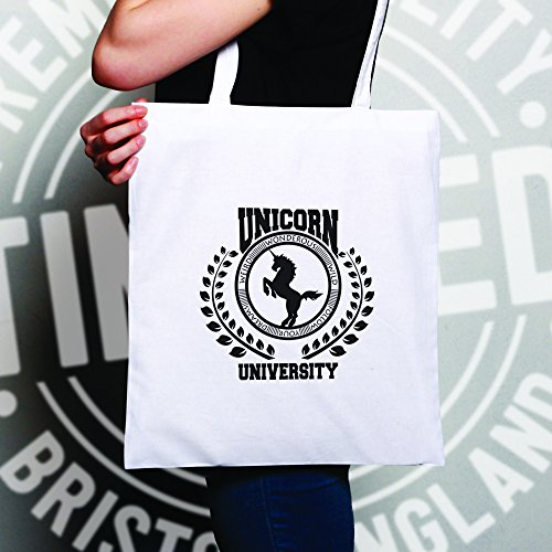 White Natural Size Parody Logo College One Tote Bag Unicorn University ann7Hxz