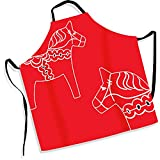 Extra Large Apron Red Dala Horse Traditional Swedish Design 100% Cotton Kitchen Chef Present Gift Plus Size Extra Long Ties Cooking Baking Durable Sweden Icon
