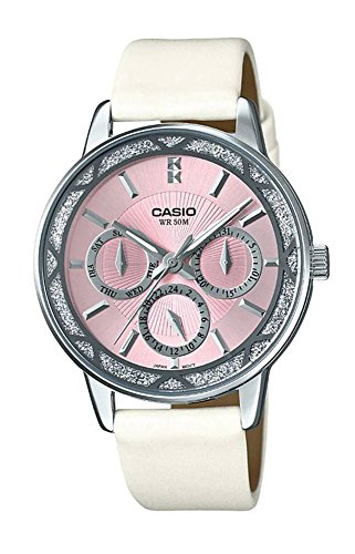 Casio Pink Dial (Casio #LTP2087SL-4AV Women's Sprinkled Bezel White Leather Band Pink Dial Multifunction Watch)